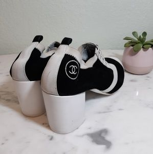 CHANEL captoe oxford block heels